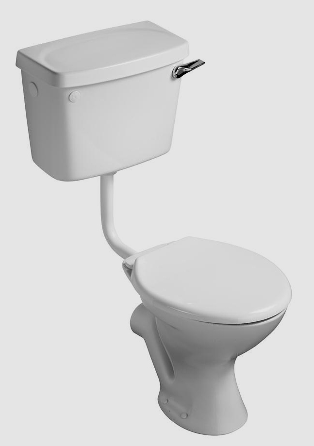 Compact low level wc toilet cistern white